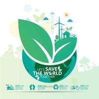 grüne Blätter auf umweltfreundlicher Welt