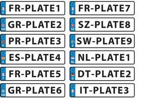 European License Plate Vectors