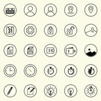 uppsättning användbara affärer, teknik och elektroniska ikoner