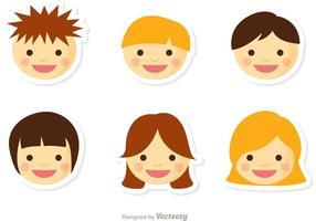 Niños Gesicht Vektor Pack 2