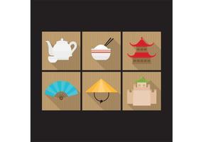 Färgglada kinesiska ikoner vektor