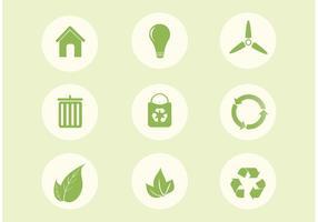 Gratis vektor ekologi ikonuppsättning