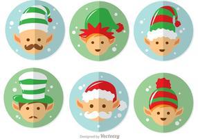 Tecknad Santas Elves Vector Pack