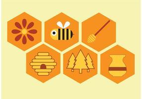 Vektor honung ikonuppsättning