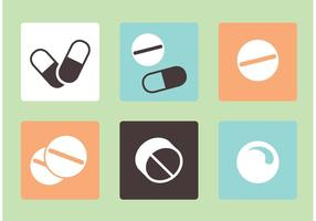 Vektor weiße Pillen Icons