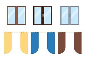 Fenster Vorhang Vektor Set