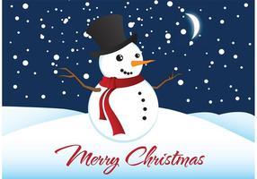 Vektor jul bakgrund med snögubbe