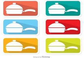 Färgglada Pan Med Hantera Etiketter vektor