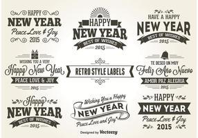 Neujahr Retro Style Etiketten vektor