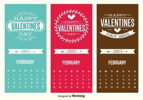 Gulliga Mini Valentines Day Kalender Kort vektor