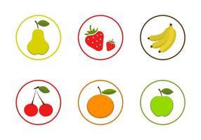 Vektor frukt ikonuppsättning