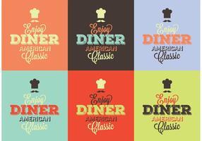 Typografiska 50-talets matsalskyltar vektor