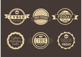 Cyber måndag och svart fredag etiketter vektor