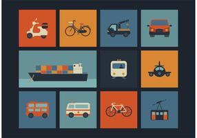 Kostenlose Vektor Retro Transport Icons