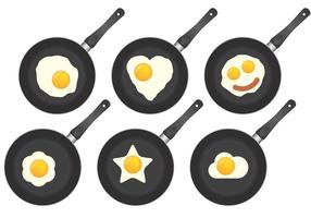 Stekpannor och stekt ägg vektor