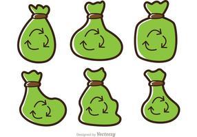 Einfache Karikatur-Müllsack-Vektoren-Satz