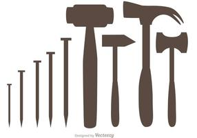 Silhouette Hammer Und Nail Icons Vector Pack