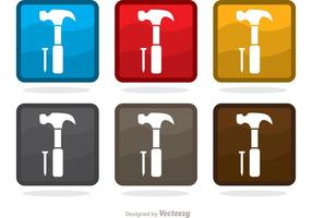 Square Hammer und Nail Icons Vector Pack