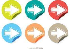 Gefaltete nächste Schritt Stiker Icons Vector Pack