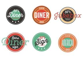Vintage 50s diner etikett samling vektor