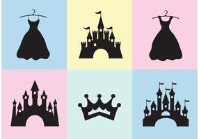 Prinzessin Schloss Vektor Set