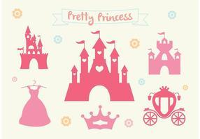 Rosa prinsessans slott vektor uppsättning