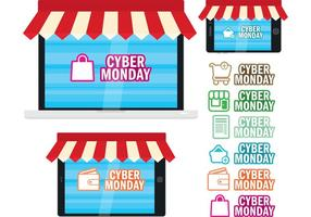 Cyber ​​Monday Digital Shops vektor