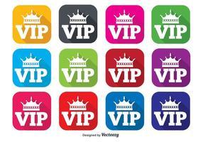 VIP platt ikonuppsättning vektor