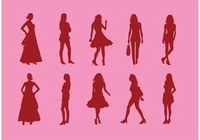 Silhouette der Mädchen Vektoren