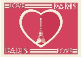 Paris-Herz-Karte vektor