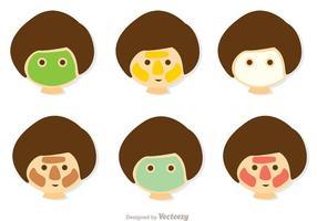 Girl Face Skin Care Vektorer Pack