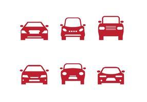 Röd bil främre silhuetter