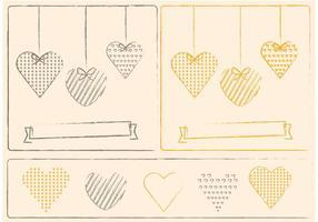 Skizzenhafte Herzen und Valentinsgruß-Verzierung Vektoren