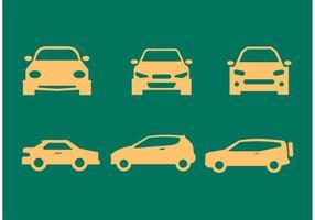 Auto Vorderseite und Seitenansicht Silhouetten vektor