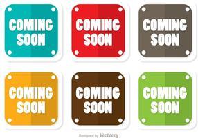 Square Kommer snart Flat Ikoner Vector Pack