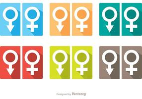 Mann und Frau Symbol Rest Room Icons Vector Pack