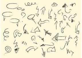 Skizzenhafte Pfeile und Linienvektoren