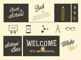 Retro Tillbaka till skolvektorer