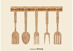 Hölzerne Küchenutensilien vektor