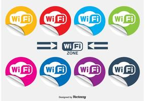 Wifi krullade klistermärken vektor