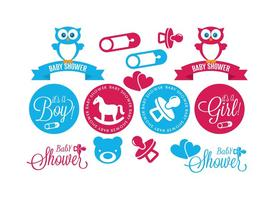 Set baby shower element vektor