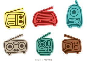 Färgglada Retro Radio Vektorer Pack