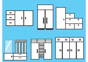 Möbel- und Wandschrank-Vektoren vektor