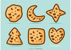 Formad Choklad Chip Cookie Vector Pack