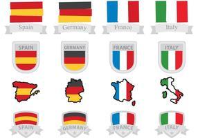 Europeiska flaggor och märken vektor