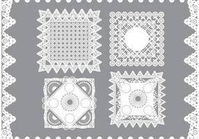 Tappning kvadrat doily vektorer