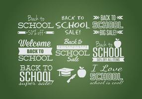 Zurück zu Schule Label Set vektor