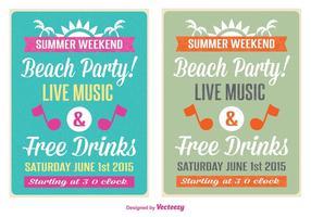 Retro beach party flyer vektor