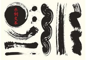 Gratis kinesiska kalligrafi vektorborstar vektor