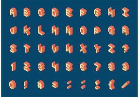 Free Isometric Retro Pixel Alphabet Vektor